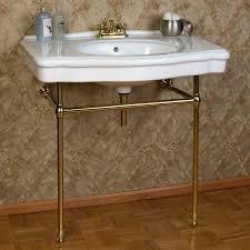 pennington console sink with brass stand signaturehardware com powder room half bath