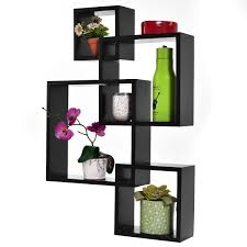 costway black intersecting 4 square floating shelf wall mounted home furniture decor com