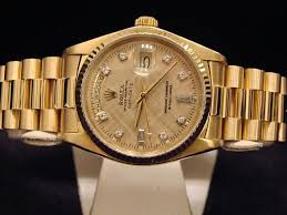 mens rolex solid 18kt 18k yellow gold day date president linen main product image