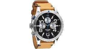 nixon 48 20 chrono gator natural leather strap black dial watch in black for men lyst