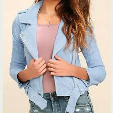 details about blank nyc women s backhanded periwinkle blue suede leather moto jacket m 198