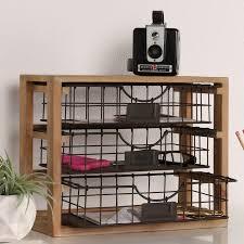 tanner rustic wood and metal desktop drawer organizer