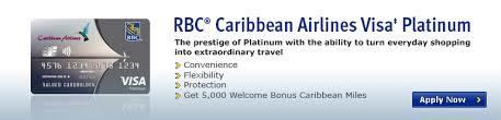 caribbean airlines frequent flyer card trinidad and tobago rbc caribbean airlines visa platinum