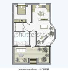 floor plan furniture vector. Architectural Color Floor Plan With Furniture Top View. One Bedroom Studio Apartment. Vector Illustration R