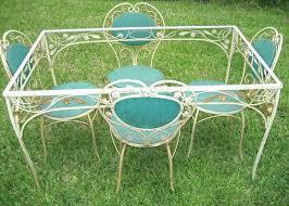wrought iron garden furniture. Vintage Woodard Wrought Iron Patio Furniture Antique Upholstered Garden Set Table Salterini C