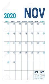 November 2020 Calendar Clip Art November 2020 Calendar Blue Color Planner English Calender Template Color Vector Grid Office Business Planning Creative Design