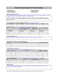Project Management Requirements Document Sample Weekly Status Report