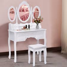 costway white tri folding oval mirror wood vanity makeup table set with stool 7 drawers bathroom