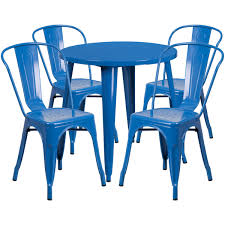30 round blue metal indoor outdoor table set with 4 cafe chairs ch