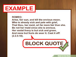 Mla Block Quote Format Gorgeous How To Cite Shakespeare With Pictures WikiHow