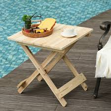 outsunny folding side table portable