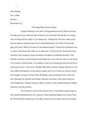 don quixote essay elizabethgeiser idealismvs realism  8 pages slant essay don quixote