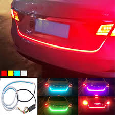Licence Plate Led Light Bar Us 7 96 25 Off Auto Car Tailgate Turning Signal Light Bar Colorful Led Strip Trunk Light Strips Multicolor Braking Lamp 280798 In Signal Lamp From