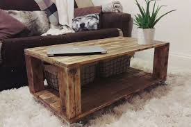 Recycled Pallet Coffee Table On Wheels  Pallet Furniture ProjectsPallet Coffee Table On Wheels