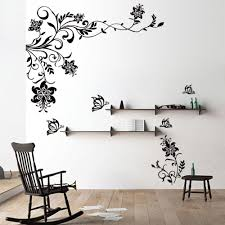 elegant sticker wall decor 3 erfly vine flower decals vinyl art sofa wonderful sticker wall decor