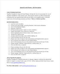 sample event planner job description material planner job description