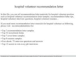 Hospital Volunteer Cover Letter Thumbnail Sample Cover Letter For