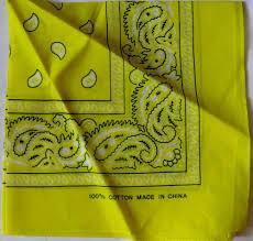 Light Yellow Bandana Paisley Print Bandana Hair Styling Handkerchief 100 Cotton
