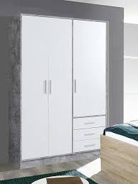 Kleiderschrank Schlafzimmerschrank Schrank Betonoptik Weiß 3 Türig