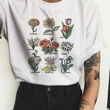 <b>Wildflower Graphic Tees Women</b> Floral Print Summer New Fashion ...