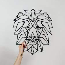 geometric lion metal wall art decor