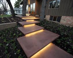 Mid Century Curb Appeal Concrete Front Steps Colored Floating Ground One