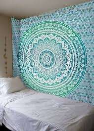 classy hanging wall tapestry small home decoration ideas green ombre mandala large hangings jaipur handloom uk