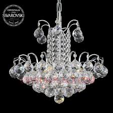 wide crystal chandelier 100 swarovski strass faceted ball prisms 10 lights