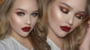 gold smokey eyes clic red lips holiday glam makeup nikkietutorials