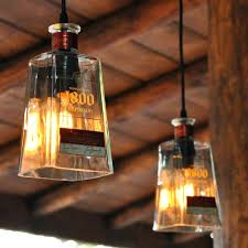 pendant lamp shade holder recycled tequila bottle lamps the green head