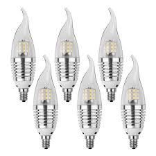 6pcs led candelabra bulb base e12 7w 6000k