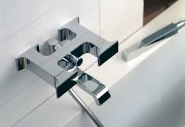 serif bathtub mixer and inlet with hand shower