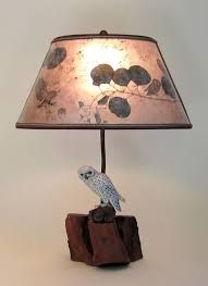 hand carved and painted white owl lamp light mica oval lampshade
