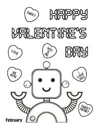 Small Picture Happy Valentines Day Say the Cute Robot Coloring Page Kids Play