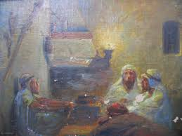 orientalist oil painting 19th century north african scene oil on canvas over old