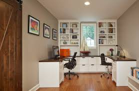 small home office desk built. Barn Door For Traditional Home Office With Recessed Lighting And Dark Wood Counter Also Double Desk Plus Bookcase Built In Cabinets Drawers Small S