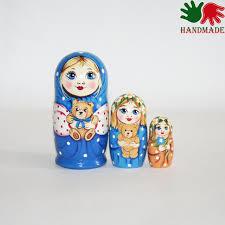 nesting dolls girl with teddy bear blue matryoshka nesting doll for kids wooden nesting dolls girl with teddy bear blue matryoshka nesting doll for kids