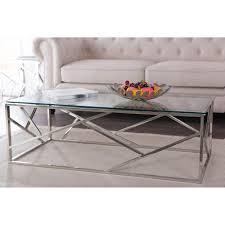 baxton studio fiona modern silver metallic coffee table