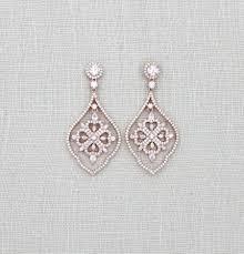 rose gold earrings wedding chandelier bridal jewelry swarovski crystal cubic zirconia black engagement rings aquamarine ring
