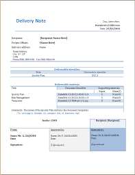 Excel Delivery Delivery Note Template Word Excel Templates