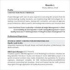 Construction Project Manager Resume Examples Stunning Resume Objective Examples Project Manager Construction Sample