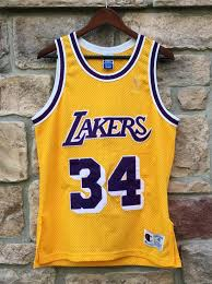 1997 Shaquille O Neal Los Angeles Lakers Authentic Champion Nba Jersey Size 40