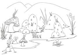 coloring pages bugs insect coloring pages coloring pages a small bug town near a puddle preschool