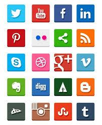 individual social media icons. simple flat social media icons individual e