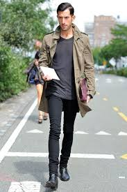 how to wear olive trenchcoat charcoal crew neck t shirt
