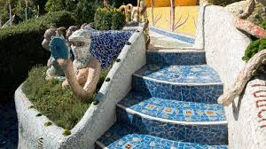 it s all mosaic paths steps and walls benches arches and seats