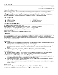 Psw Sample Of Resume And Professional Personal Support Worker Templates To Showcase