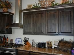 distressed black walnut stain with cream island kitchen