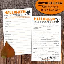printable scary halloween mad lib for adults teens kids ghost  printable halloween mad libs