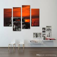 4 picture combination wall art of an old car and sunset tree painting pictures print on canvas the picture for home decor old car painting canvas paintings